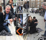 *EXCLUSIVE* *WEB MUST CALL FOR PRICING* - *STRICTLY NO WEB USAGE UNTIL FURTHER NOTICE*  Jeremy Clarkson gets his hands dirty as he helps and show Binky from Made in Chelsea to change her car tyre