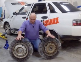 6e4eaccb-lada-110-with-wheels-made-of-nails