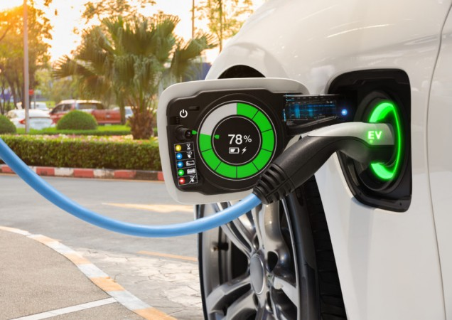 Electric vehicle changing on street parking with graphical user interface, Future EV car concept